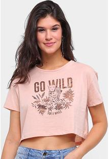 Camiseta Sommer Cropped Go Will Feminina - Feminino-Bege