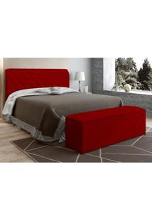 Cabeceira Com Calçadeira Baú Paris Para Colchão Box 140 Cm Vermelho Suede Amassado - Js Móveis