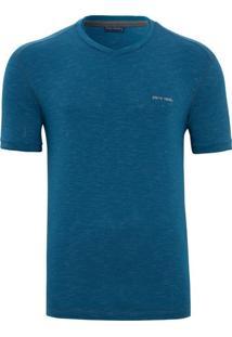 Camiseta Slim Listras Azul Petróleo