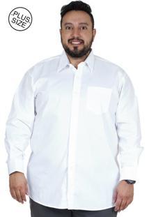 Camisa Plus Size Bigshirts Manga Longa Lisa Elastano - Branca