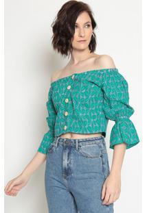 Blusa Cropped Ciganinha Em Laise- Verde & Lilã¡Sla Chocolãª
