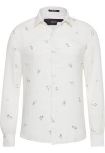 Camisa Masculina Linen Mini Flowers - Off White