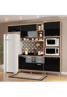 Cozinha Compacta Com Tampo 9 Portas 5829 Argila/Preto - Multimóveis