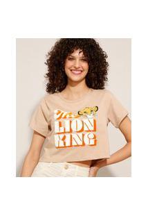 Camiseta Cropped O Rei Leão Manga Curta Decote Redondo Kaki