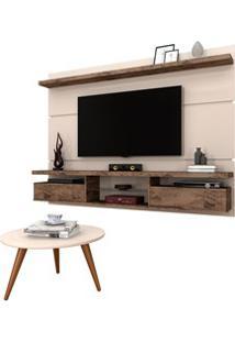 Painel Para Tv Lívia 2.2 E Mesa De Centro Solaris H01 Off White/Deck -