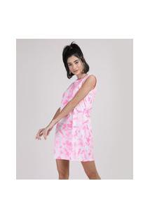 Vestido Feminino Curto Estampado Tie Dye Sem Manga Rosa