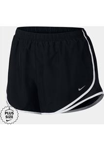 Short Nike Tempo Plus Size Feminino - Feminino-Branco+Preto