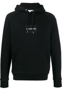 Calvin Klein Jeans Logo Patch Drawstring Hoodie - Preto