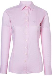 Camisa Dudalina Manga Longa Tricoline Maquinetado Feminina (Rosa Claro, 46)