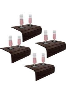 Bandeja Porta Copo Para Sofá Kit Com 4 Tradicionais Tabaco