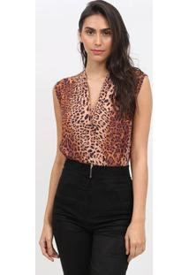 Body Animal Print- Marrom & Preto- Max Glammmax Glamm