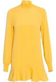 Vestido Feminino Gola Lastex De Seda - Amarelo