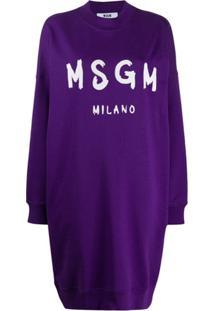 Msgm Vestido De Moletom Oversized Com Estampa De Logo - Roxo