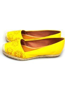 Alpargata Love Shoes Espadrille Renda Floral Sarja Amarelo