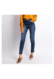 Calça Jeans Feminina Cigarrete Lavagem Escura Jeans