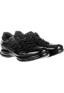 Sapato Conforto Couro Democrata Air Full - Masculino-Preto