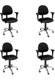 Conjunto Com 4 Cadeiras De Escritório Secretária Giratória Executiva Preto E Cromado
