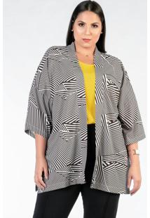 Kimono Plus Size Amplo Preto Branco