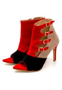 Sandália Feminina Ankle Boot Anna Andrade Bico Folha Salto Fino Vermelha Preto Nude