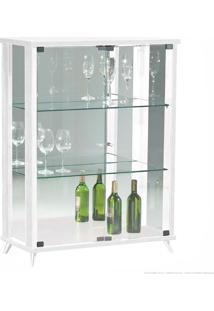 Cristaleira 2 Portas De Vidro Com Espelho E Pés Palito Onix 100% Mdf Branco - Móveis Forini
