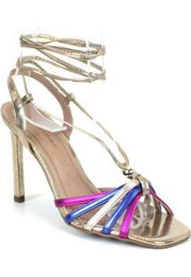 Sandália Emporionaka Tira Fina Metalizada Multicolorido Feminino - Feminino-Dourado