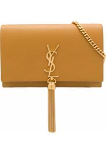 Saint Laurent Bolsa Transversal Kate De Couro - Amarelo