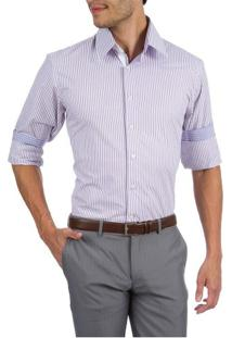 Camisa Social Masculina Lilás Listrada - 03