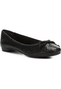 Sapatilha Shoestock Laço Olímpia Snake Feminina - Feminino-Preto