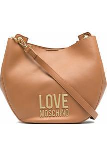 Love Moschino Bolsa Tiracolo Com Placa De Logo - Marrom