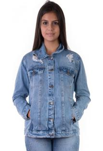 Jaqueta Jeans Alongada Rasgos 100%