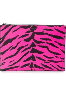 Saint Laurent Zebra Print Clutch - Rosa