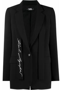 Karl Lagerfeld Blazer De Alfaiataria Com Logo Bordado - Preto