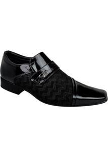 Sapato Social Couro Paganezzi Verniz Masculino - Masculino-Preto