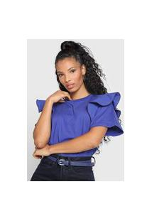 Camiseta Cropped Forum Babados Azul