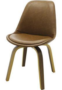 Cadeira Lis Eames Revestida Pu Marrom Base Madeira Mescla - 51147 Sun House