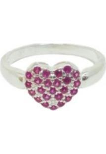 Anel Lolla925 Coração Cristais Pink Único Plus Size Prata 925