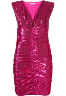 P.A.R.O.S.H. Vestido Franzido Com Paetês - Rosa
