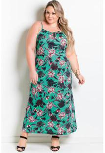 68790ca5e -17% Vestido Longuete Com Alças Plus Size Floral