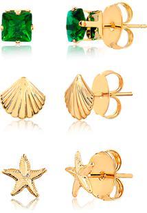 Kit De Brincos Com Pedra Verde, Estrela Do Mar E Concha Folheado Em Ouro 18K – 2180000001862