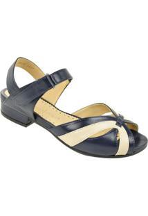 Sandália De Salto Baixo Opananken Feminino - Feminino-Azul+Bege