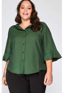 Camisa Almaria Plus Size Garage Viscose Renda Verd