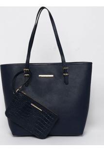 Bolsa Em Couro Com Tag- Azul Marinho- 30X43X14Cmjorge Bischoff