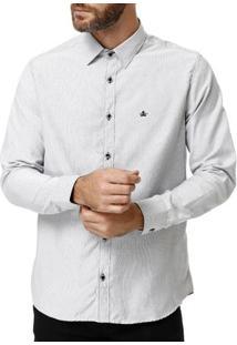 Camisa Manga Longa Masculina Branco/Preto