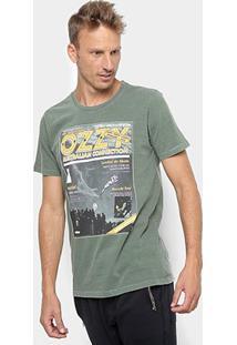 Camiseta Redley Tinturada Silk Magazine V Masculina - Masculino-Verde Militar