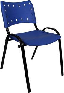 Cadeira Fixa Assento Azul Estrutura Époxi Preto