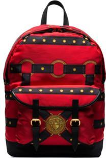 Versace Bondage-Print Backpack - Vermelho
