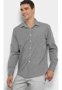 Camisa Xadrez Manga Longa Watkins&Krown Com Bolso Masculina - Masculino-Branco+Preto