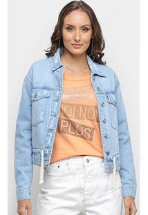 Jaqueta Jeans Disparate Cordão Feminina - Feminino-Azul
