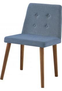 Cadeira Flan Azul Base Castanho - 50724 - Sun House