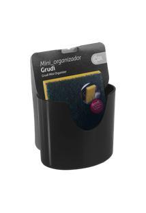 Mini Organizador Com Ventosa Glass 10,4 X 5,6 X 9 Cm Preto Coza